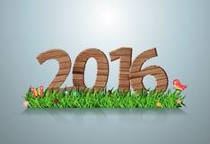 Sinal de madeira do ano novo feliz do vetor 2016 na grama verde ilustração do vetor