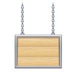 Sinal de madeira em correntes Imagens de Stock Royalty Free