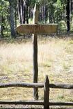 Sinal de madeira esta maneira na floresta Foto de Stock