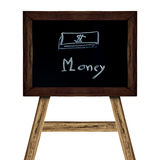 Sinal de madeira isolado no branco imagem do negócio de dinheiro do conceito Fotografia de Stock