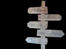 Sinal de madeira isolado no fundo preto Fotos de Stock