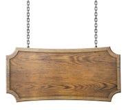 Sinal de madeira na corrente isolada no branco Fotos de Stock Royalty Free