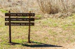 Sinal de madeira no centro da natureza de Cibolo em Texas fotografia de stock royalty free