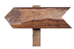 Sinal de madeira velho isolado no fundo branco. Imagens de Stock