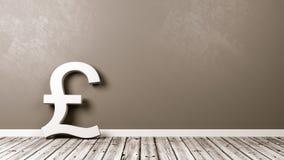 Sinal de moeda britânico da libra no assoalho de madeira contra a parede Fotografia de Stock Royalty Free