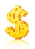 Sinal de moeda do dólar feito do queijo poroso amarelo Imagem de Stock