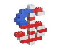 Sinal de moeda do dólar que consiste em brinquedos das crianças Foto de Stock Royalty Free