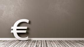 Sinal de moeda do Euro no assoalho de madeira contra a parede Imagens de Stock