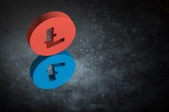 Sinal de moeda vermelho e azul de Litecoin com reflexão de espelho em Dusty Background escuro ilustração do vetor