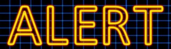 Sinal de néon alerta ilustração stock