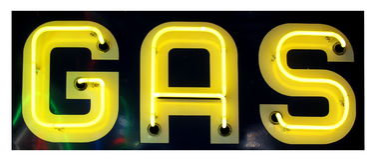 Sinal de néon amarelo retro do gás Fotos de Stock