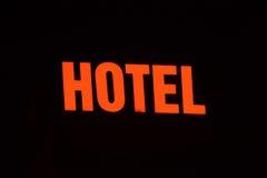 Sinal de néon com o hotel da palavra Imagem de Stock Royalty Free