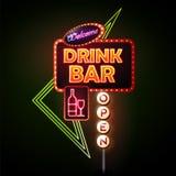 Sinal de néon da barra da bebida Foto de Stock