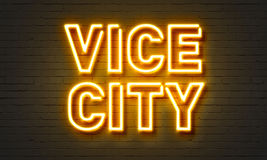 Sinal de néon da cidade vice Fotos de Stock