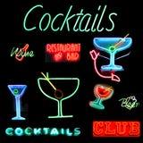 Sinal de néon da colagem dos cocktail Fotos de Stock
