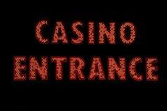 Sinal de néon da entrada do casino Imagens de Stock