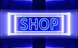 Sinal de néon da loja Fotos de Stock Royalty Free