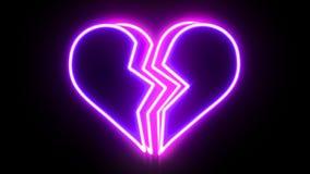 Sinal de néon de coração quebrado que anima ilustração royalty free