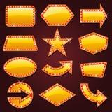 Sinal de néon de incandescência brilhantemente dourado do cinema retro Imagens de Stock