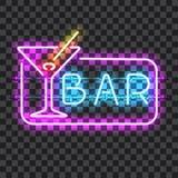 Sinal de néon de incandescência da barra com vidro de martini Imagens de Stock Royalty Free