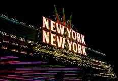 Sinal de néon de New York New York na tira de Las Vegas Fotos de Stock Royalty Free