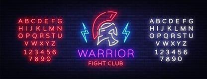 Sinal de néon do clube da luta Logotipo do guerreiro no estilo de néon Projete o molde, logotipo dos esportes, guerreiro espartan Imagens de Stock