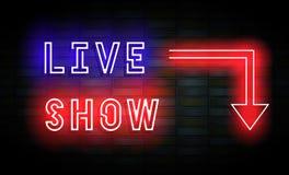 Sinal de néon do espetáculo ao vivo na parede de tijolo Fotografia de Stock Royalty Free