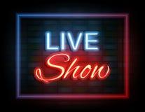 Sinal de néon do espetáculo ao vivo na parede de tijolo Imagem de Stock