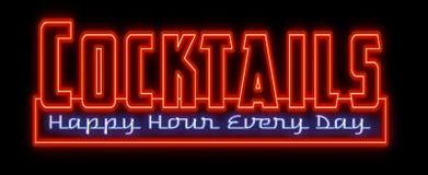 Sinal de néon do happy hour dos cocktail ilustração royalty free