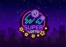 Sinal de néon do loto super Logotipo em um estilo de néon, símbolo brilhante do loto do Bingo, lototron, bandeira de néon, propag ilustração stock