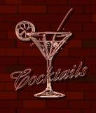 Sinal de néon dos cocktail Fotografia de Stock