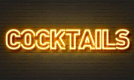 Sinal de néon dos cocktail Imagens de Stock