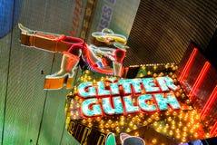 Sinal de néon Las Vegas do desfiladeiro do brilho fotografia de stock royalty free