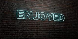 - Sinal de néon realístico no fundo da parede de tijolo - 3D APRECIADO rendeu a imagem conservada em estoque livre dos direitos ilustração stock