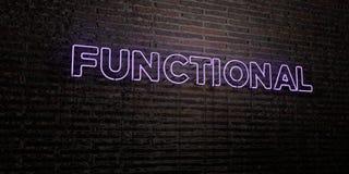 - Sinal de néon realístico no fundo da parede de tijolo - 3D FUNCIONAL rendeu a imagem conservada em estoque livre dos direitos ilustração stock
