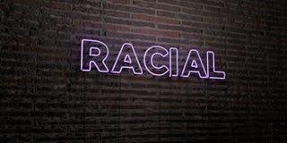 - Sinal de néon realístico no fundo da parede de tijolo - 3D RACIAL rendeu a imagem conservada em estoque livre dos direitos ilustração do vetor