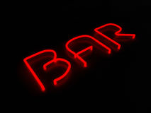 Sinal de néon vermelho da barra no fundo preto Fotografia de Stock