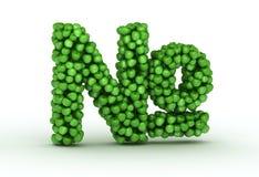 Sinal de número, alfabeto de maçãs verdes Imagens de Stock Royalty Free