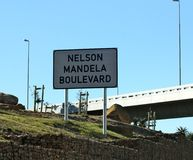 Sinal de Nelson Mandela Boulevard, Cape Town Fotografia de Stock Royalty Free