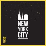Sinal de New York City, ilustração, silhuetas dos arranha-céus Fotografia de Stock Royalty Free