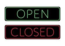 Sinal de néon da porta aberta e fechado Fotografia de Stock Royalty Free