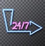 Sinal de néon moderno do vetor no fundo transparente Imagem de Stock Royalty Free