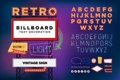 Sinal de néon retro ajustado do vetor, quadro de avisos do vintage, quadro indicador brilhante Fotografia de Stock Royalty Free