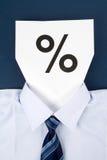 Sinal de papel da face e de porcentagem Fotografia de Stock Royalty Free