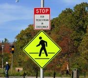 Sinal de passeio do pedestre Imagem de Stock Royalty Free