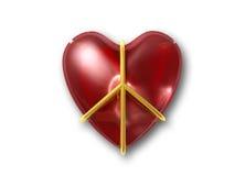 Sinal de paz do amor como um sinal do activista com trajeto de grampeamento Foto de Stock Royalty Free
