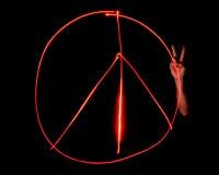 Sinal de paz pintado luz Imagens de Stock