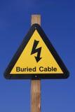 Sinal de perigo elétrico amarelo Imagens de Stock Royalty Free