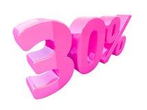 Sinal de por cento cor-de-rosa isolado Foto de Stock