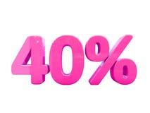 Sinal de por cento cor-de-rosa isolado Foto de Stock Royalty Free